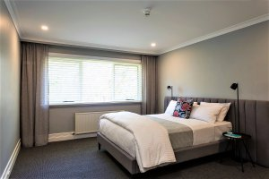 bedroom with side lamps